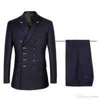 lacivert balo elbiseleri toptan satış-Yeni Tasarım Beş Kruvaze Lacivert Damat Smokin Erkekler Düğün Blazer Yüksek Kalite Erkekler Yemeği Balo Business Suit ((Ceket + Pantolon + Kravat) 1020