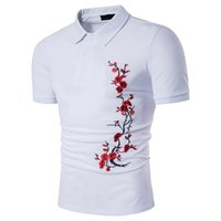 Wholesale Chinese Men S Clothes Fashion - Chinese Style Slim Men Shirt Short Sleeves Turn-down Polo Shirt Summer New Fashion Design Flroal Embroidery Clothing