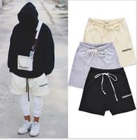 pantalones al por mayor-Mens High Street Pantalones cortos de cintura elástica Mujeres Hip Hop Essentials Imprimir Miedo de Dios Pantalones de los amantes Cutton Pantalones casuales de color sólido