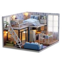 ingrosso kit per adulti-Giocattoli fatti a mano della casa di bambola di legno con mobilia del LED Assemblando il corredo di modello miniatura di DIY Bambini creativi Regalo di bellezza adulto 56xh YY