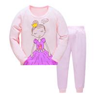 kinder pyjamas prinzessin großhandel-JQ-202, Princess, Kinder Mädchen Langarm Pyjamas Nachtwäsche für 2-7Y, 100% Baumwolljersey