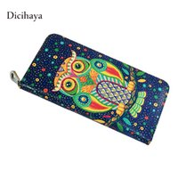 Wholesale cute owl wallets - Wholesale- DICIHAYA Real Leather Cute Blue Owl Animal Printing Wallets Zipper Long Women Wallet Ladies Clutch Bags Purses Card Holders