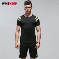 traje de correr amarillo al por mayor-Gym Wear Men Sportswear Chándal 2018 Traje de fitness para hombres Compression Suit Yellow Running Clothes Correr para correr al aire libre 3XL