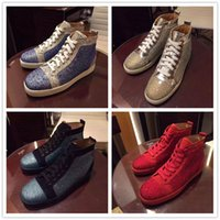 Wholesale green bottoms - New Designer High Top Crystal Studded Lace Up Causal Shoe Man Woman Cheap Sneaker Red Blue Black Flat Bottom Party Shoes Size 35-46