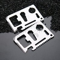 Wholesale self defense multi tool resale online - New Mini Stainless Steel In Multi Tools Hiking Hunting Camping Survival Pocket Wallet Credit Card Knife Outdoor Gear Life Saving Kits