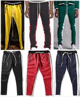 ingrosso pantaloni di stile per gli uomini-2018 New Green Color Fifth Collection Justin Bieber pantaloni sportivi della chiusura lampo laterale uomini pantaloni hiphop jogger 13 stile S-XL