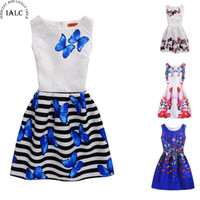 ingrosso abiti formali per adolescenti-6-12Y Girls Dress Summer Butterfly Floral Print Teenagers Abiti per ragazze Designer Formal Party Dress Kids Vestido 2017