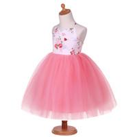 Wholesale rainbow chiffon clothes resale online - Baby Girl Dresses Floral Suspender Kids Clothing Boat Neck Sleeveless Vest Rainbow Chiffon Kids Designer Clothes G DMGD0010 A169