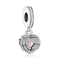 925 adet gümüş tüyü takılar toptan satış-Melek Kanat Charm Kolye 925 Gümüş Dangle açacağı Kristal Tüy Kalp Charms DIY Marka Logosu Bilezikler Takı Aksesuarlar Beads