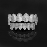 Gold Shiny ICED OUT Teeth Grillz Rhinestone Top&Bottom Grills Set Hip Hop Jewelry