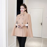 Wholesale cashmere solid color scarves women for sale - Group buy High Quality Stand Collar Wool Cape Coat Fashion British Style Double Button OverCoat Khaki Black Women Winter Woolen Coat Cloak with Scarf
