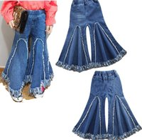 Wholesale High Waist Boot Cut Jeans - 2018 Girls Children's Harem Pants Clothing Fashion Girl Kids Jeans ins Newest Summer Enfant Trousers Enfant Clothes High Quality