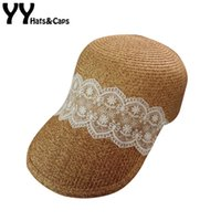 Wholesale large elegant straw hats resale online - Elegant Lace Straw Hat For Women Summer Sun Visor Hats Large Brim Beach Cap Ladys Floppy Summer Hat Casquette Femme ete YY18036