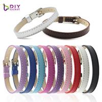 Wholesale 8mm letters accessories resale online - 10PCS MM PU Leather Glint Wristband Bracelets quot Can Choose the Color quot pieces DIY Accessory Fit Slide Letter LSBR015