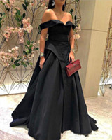 Wholesale sexy fur carpet for sale - Group buy Sexy Off the Shoulder Evening Dresses Long Black Girl Party Wear African Arabic Prom Party Gowns Floor Length Cheap