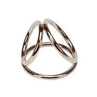 hahn ringe schleife großhandel-Dreifache Schleife Metall Cock Ring Cock Cage Erektion Enhancer / Impotenz Hilfe NY022