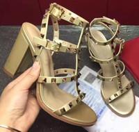 sandales à talons hauts en nubuck achat en gros de-2018, designer, cuir, femmes, sandales à talons, hauts talons épais, dorsales 9.5cm