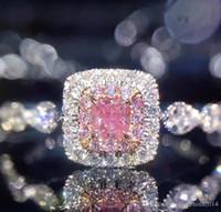 paare ringen rubin großhandel-Victoria Wieck Luxus Schmuck 925 Sterling Silber Princess Cut Rosa Saphir CZ Diamant Zirkonia Hochzeit Frauen Engagement Band Ring SZ 5-10