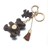 Wholesale PU Leather Bear Key Chain Tassel Key Ring Car Bag Keychain For Women Jewelry Accessories Gift
