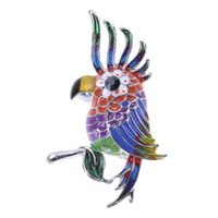 ingrosso distintivi di uccelli-Colorful Glaze Flying Bird Pappagallo Spilla in metallo Uccello Spilla Pins Dress Jacket Pin Badge regalo gioielli smalto Decorazione accessorio