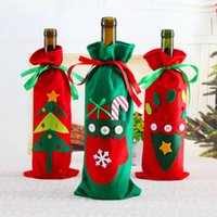 Wholesale wine christmas ornament - Christmas Tableware Santa Claus Fabric 3 Styles Ornaments Xmas Wine Bottle Cover Bag Dinner Party Table Decor