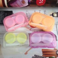 mode kontakte linsen groihandel-Süßigkeit färbt Kontaktlinse Kasten Plastikspeicher Augen Sorgfalt Kasten einfacher beweglicher Organisator mit Pinzette Art und Weise 0 78cj U