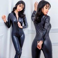 Latex aspect cuir homme noir catsuit combinaison 2 Way Zip à entrejambe sans manches