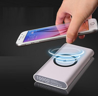 Wholesale Mobile Power Banks - 2018 Hot sell Wireless Charger Power Bank for iphone 7 8 X samsung galaxy s7 s8 10000 mAh Portable Powerbank Mobile Phone Charger