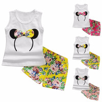 Wholesale ruffle vest top - Multi-colored Girls Summer Sleeveless Outfits Baby Girl Vest Top + Bowtie Shorts Pants Set Clothes Kids Outfit 1-6Y