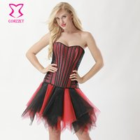2ea917a066 Red Satin   Black Fishnet Stripe Overbust Bustier Dress Burlesque Skirt Corset  Sexy Gothic Clothing Steampunk Victorian Dresses