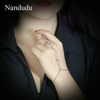 Wholesale Connect Fashion - Nandudu HOT SALE Fashion Palm Bracelet Bangle Connected Finger Ring Palm Bangle Crystal Handlets Jewelry Gift R1010