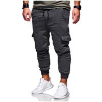 pantalones jogger bolsillos con cremallera al por mayor-Pantalón de diseño para hombre Pantalón de chándal con bolsillo Hip Hop Pantalones con cremallera Pantalones de chándal Pantalones Sólido Gris Negro S-3XL