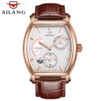 сапфир мужские часы оптовых-Dual Time Display Mens Automatic Mechanical Watch Top  Sapphire Men Genuine Leather Watches Male Business Clock