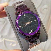 vendas de céu venda por atacado-2019 Venda Quente Roxo / azul Mulheres Relógio de Moda de Luxo em Aço Inoxidável Design Relojes De Marca Mujer Vestido Senhora Relógio Com Céu Estrelado Dial