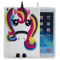 gel de capa para ipad venda por atacado-Caso do iPad Unicórnio, Bonito Legal 3D Unicorn Horse Animal Dos Desenhos Animados Do Arco Íris De Borracha De Silicone Macio Caso Voltar Capa de Proteção para o iPad