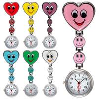 серьги оптовых-Shellhard Cute Crystal Smile Heart Nurse Watch Heart Shape Smile Face Clip On Pocket Brooch Fob Pendant Quartz Nurse Watch