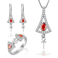 Wholesale 925 Silver Earrings Red - Women Jewelry Sets Accessories of 925 Silver Sterling Earrings, Pendant, Ring with Red Zircons,free shipment
