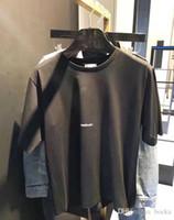 ingrosso uomini asiatici della maglietta di modo-2018SS Fashion Letter Design Uomo Casual manica corta in cotone SAIN LAURE T-shirt Donna Slim formato asiatico S-XL