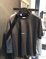 homens de camisa de moda asiática t venda por atacado-2018SS Moda Carta Design dos homens de Algodão Casuais de manga curta SAIN LAURE T Camisas Das Mulheres Magro Asiático tamanho S-XL