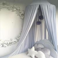 kanopiler için yatak takımı toptan satış-Toptan Satış - Çocuk Yatak Canopy Yatak Perdesi Yuvarlak Dome Asılı Cibinlik Çadır Perde Moustiquaire Zanzariera Bebek Oynarken Ev Klamboe