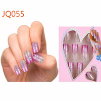 Wholesale french nail arts online - 24pcs Pre Design Fake Nails French False Nails Beautiful Nail Tips For Nail Art Fashion Fingernail Free Glue
