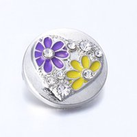 Wholesale stainless steel necklace for two resale online - High quality two small flower crystal metal snap Pieces lot18mm SnapButton fit for fashion women s bracelet necklace accessories DX714