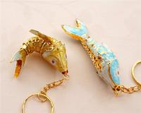 benzersiz anahtarlıklar toptan satış-Benzersiz Salıncak 5.5 emaye işi Koi Balık Anahtarlık Anahtarlık Çin Etnik Emaye Takı Aksesuar Anahtar kolye Charms Hediye