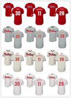 11 s white gold großhandel-Philadelphia Phillies Jersey # 26 Chase Utley 11 Tim McCarver 30 Dave Cash Rot Grau Weiß Baseball-Trikots