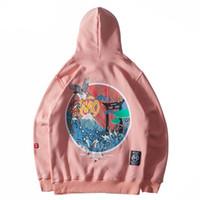 kadife pullu toptan satış-Harajuku Japon Işlemeli Vinçler Polar Kadife Hoodie Streetwear Erkekler 2019 Hip Hop Kazak Tişörtü Kış Hoodie Kalınlaşmak