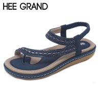 Wholesale elastic thong men - HEE GRAND 2018 New Women Lace Decoration Sandals Flats with Women Thong Causal Easy Wearing Shoes Mujer Sandalias XWZ5073