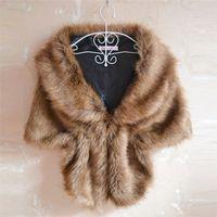 Wholesale black fur stole wrap for sale - Group buy Women Lady Plush Faux Fur Shawl Wrap Bridal Wedding Jacket Gilet Stole Waistcoat Bolero Shrug Cape Black White Brown