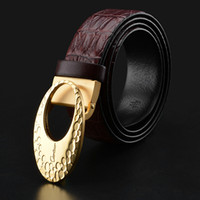 Wholesale 32 leather pants - Famous Brand Men's Buckle Belts Wholesale Top Quality Fashion Pants Strap Accessories Solid Brass Smooth Buckles Genuine Leather Belt