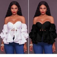 Wholesale puff shoulder tops - Fashion Women Puff Sleeve Blouse Strapless Blouses Sexy Slash Neck Long Ruffles Off shoulder Tops Shirts