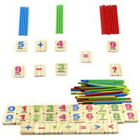 matematik oyuncakları toptan satış-1 Takım Ahşap Sayılar Sopa Matematik Öğretim Oyuncak Çocuk Erken Öğrenme Sayma Eğitim Matematik Oyuncak
